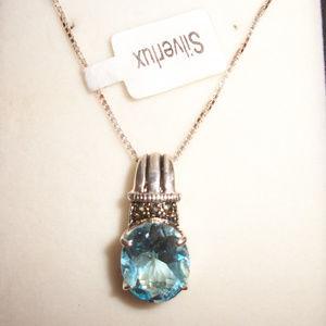 New Blue Topaz Silver Pendant Necklace